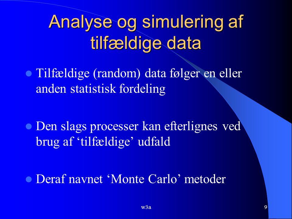 w3a9 Analyse og simulering af tilfældige data Tilfældige (random) data følger en eller anden statistisk fordeling Den slags processer kan efterlignes ved brug af 'tilfældige' udfald Deraf navnet 'Monte Carlo' metoder