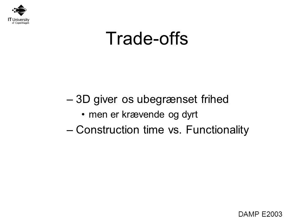 DAMP E2003 Trade-offs –3D giver os ubegrænset frihed men er krævende og dyrt –Construction time vs.