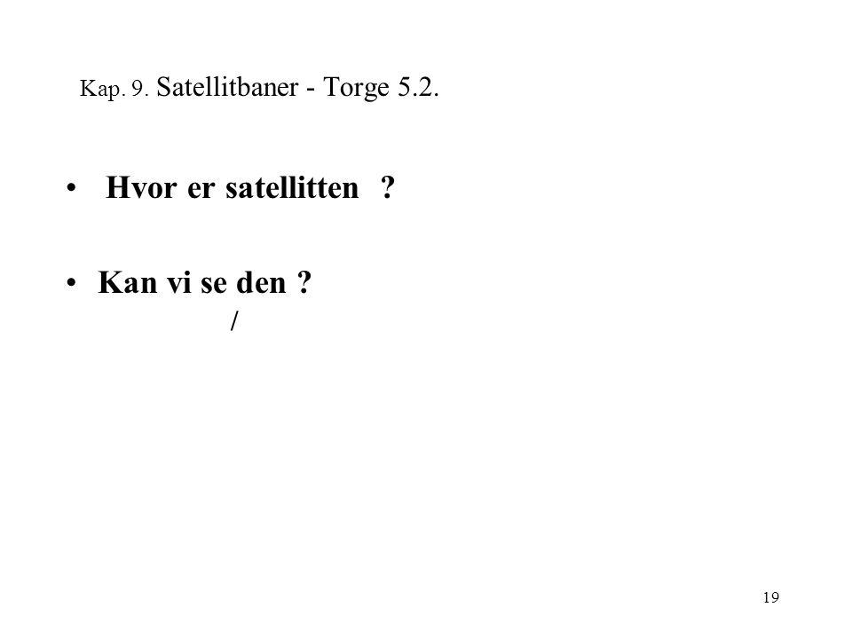 19 Kap. 9. Satellitbaner - Torge 5.2. Hvor er satellitten Kan vi se den /
