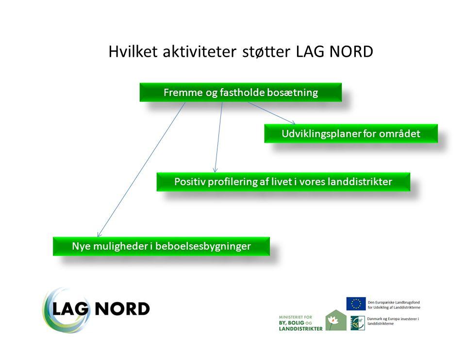 Fremme og fastholde bosætning Hvilket aktiviteter støtter LAG NORD Udviklingsplaner for området Nye muligheder i beboelsesbygninger Positiv profilering af livet i vores landdistrikter
