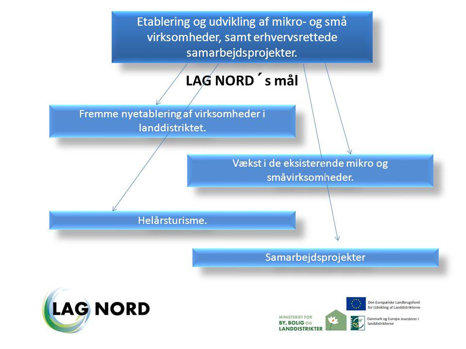 LAG NORD´s mål Etablering og udvikling af mikro- og små virksomheder, samt erhvervsrettede samarbejdsprojekter.