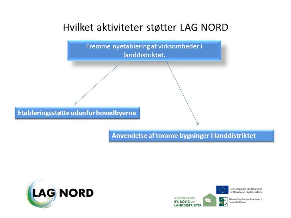 Hvilket aktiviteter støtter LAG NORD Fremme nyetablering af virksomheder i landdistriktet.