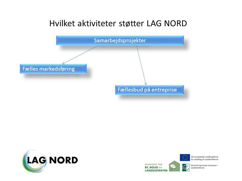 Samarbejdsprojekter Hvilket aktiviteter støtter LAG NORD Fælles markedsføring Fællesbud på entreprise