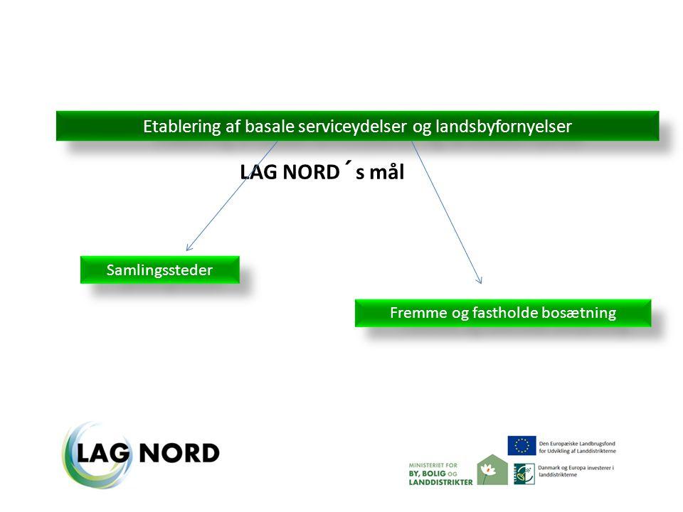 Etablering af basale serviceydelser og landsbyfornyelser Fremme og fastholde bosætning Samlingssteder LAG NORD´s mål