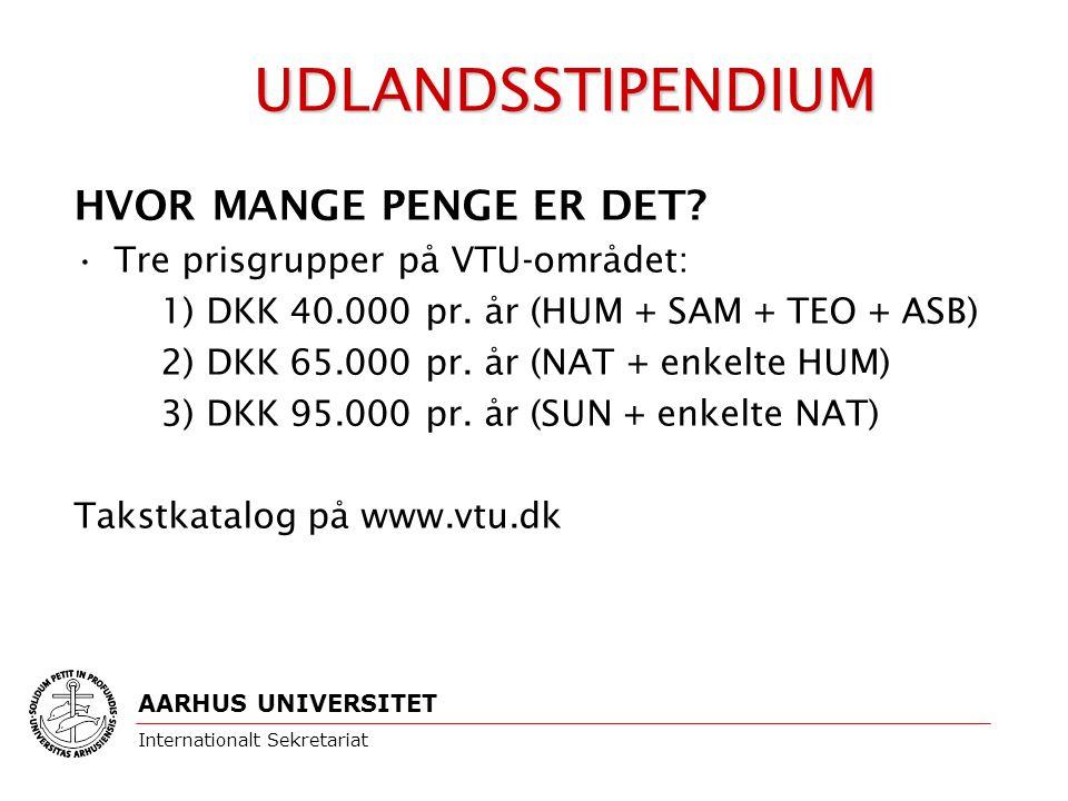HVOR MANGE PENGE ER DET. Tre prisgrupper på VTU-området: 1) DKK 40.000 pr.