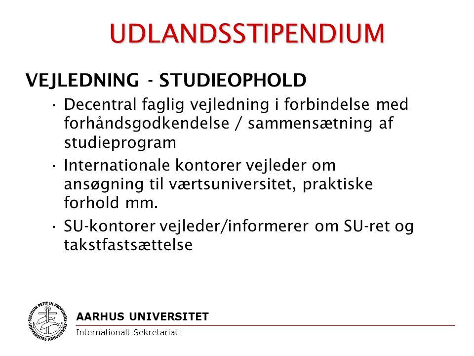 VEJLEDNING - STUDIEOPHOLD Decentral faglig vejledning i forbindelse med forhåndsgodkendelse / sammensætning af studieprogram Internationale kontorer vejleder om ansøgning til værtsuniversitet, praktiske forhold mm.