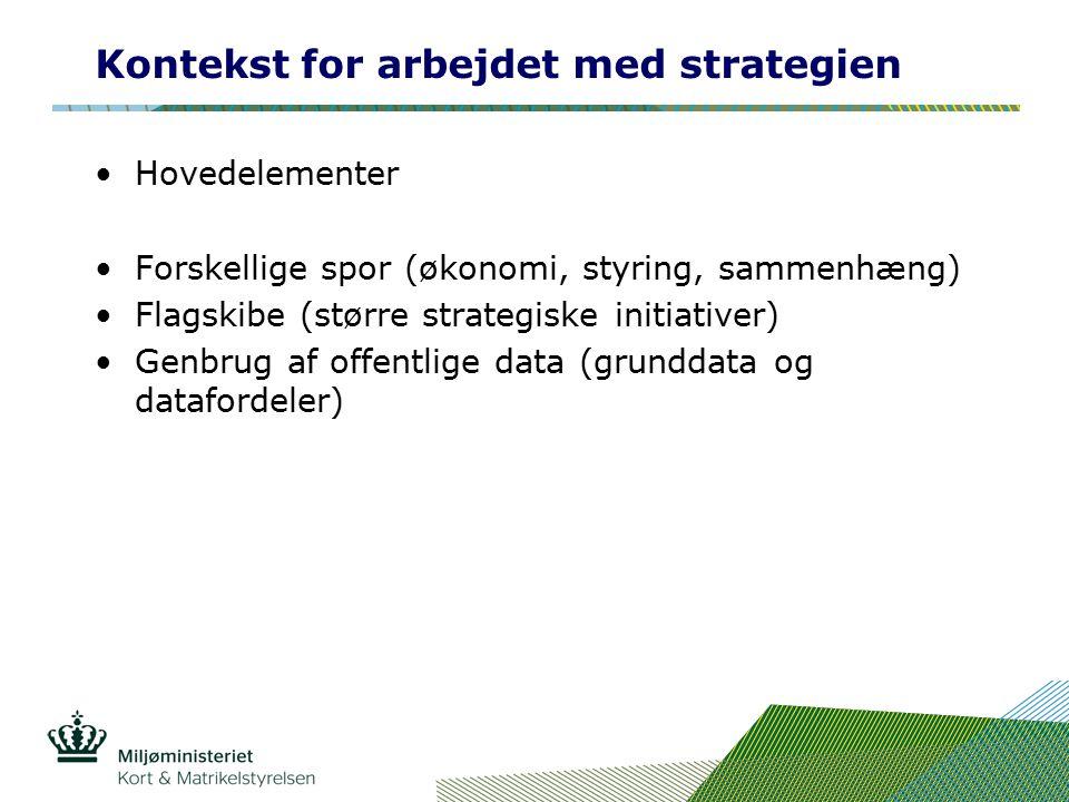 Kontekst for arbejdet med strategien Hovedelementer Forskellige spor (økonomi, styring, sammenhæng) Flagskibe (større strategiske initiativer) Genbrug af offentlige data (grunddata og datafordeler)