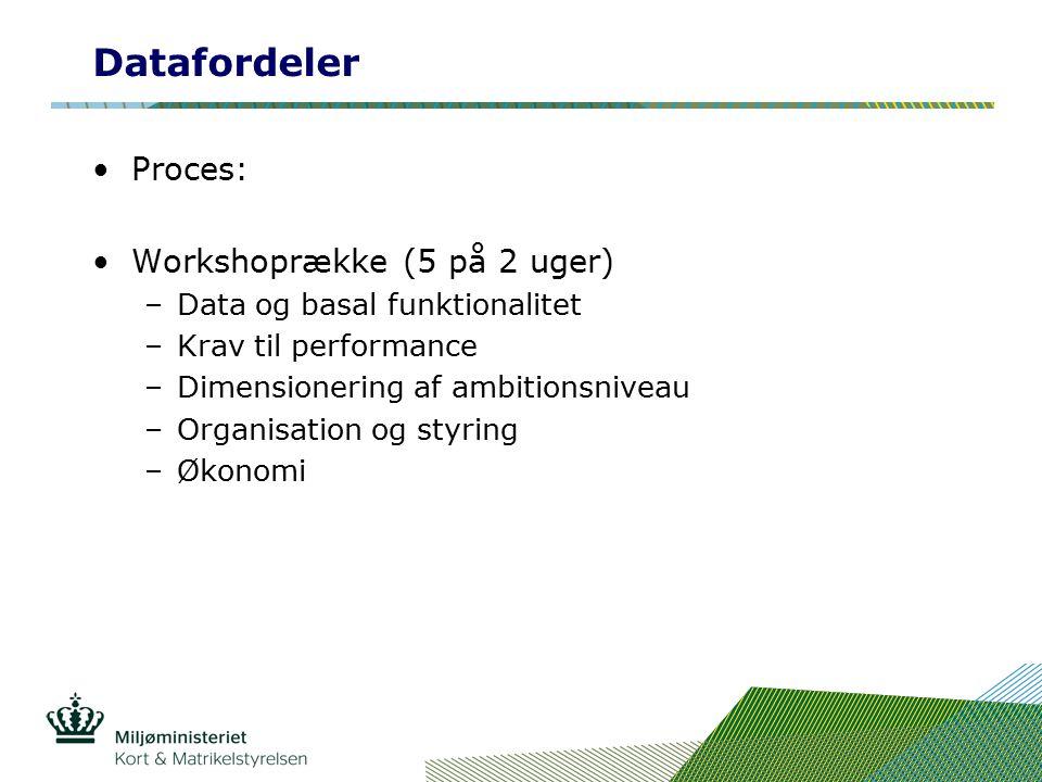 Datafordeler Proces: Workshoprække (5 på 2 uger) –Data og basal funktionalitet –Krav til performance –Dimensionering af ambitionsniveau –Organisation og styring –Økonomi