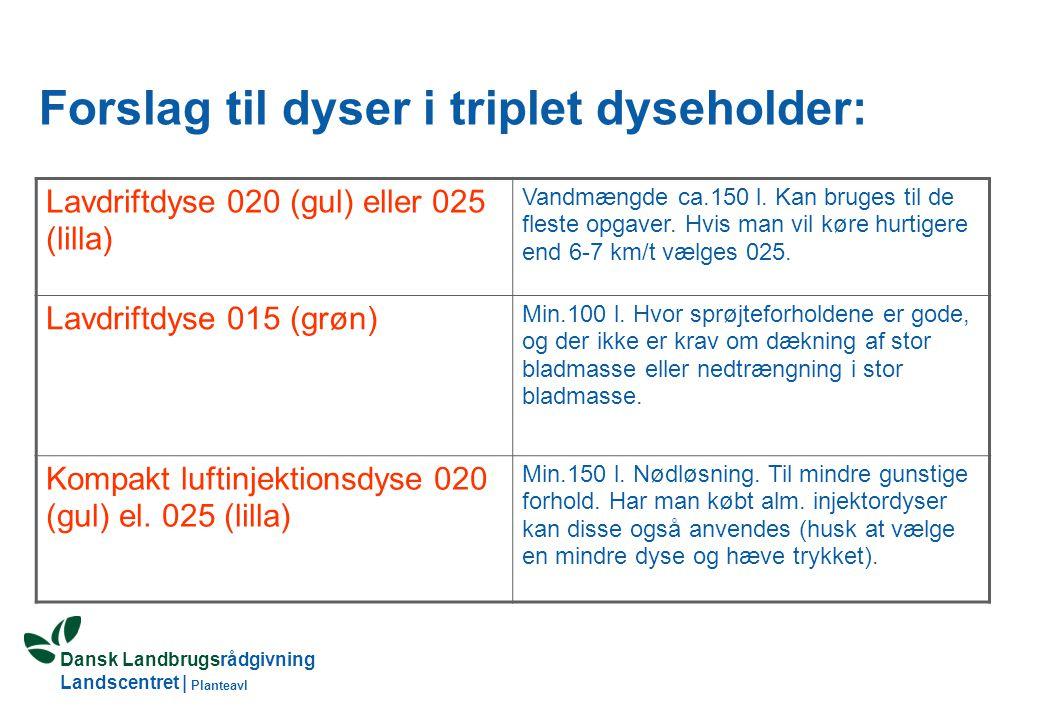 Dansk Landbrugsrådgivning Landscentret | Planteavl Forslag til dyser i triplet dyseholder: Lavdriftdyse 020 (gul) eller 025 (lilla) Vandmængde ca.150 l.