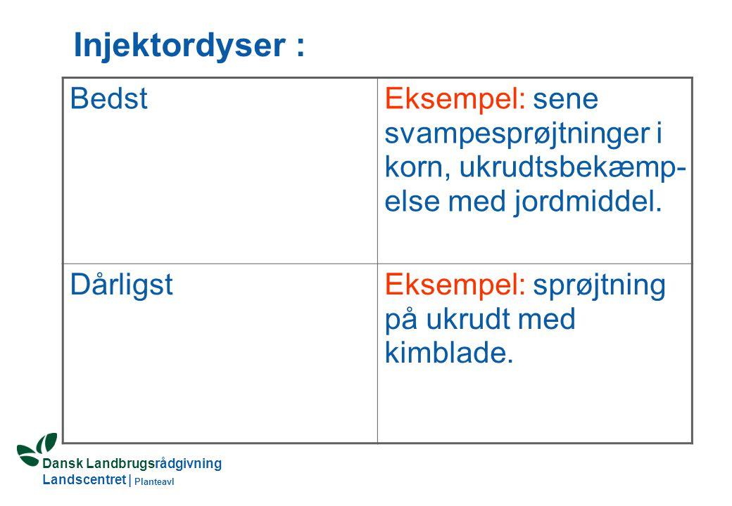 Dansk Landbrugsrådgivning Landscentret | Planteavl Injektordyser : BedstEksempel: sene svampesprøjtninger i korn, ukrudtsbekæmp- else med jordmiddel.