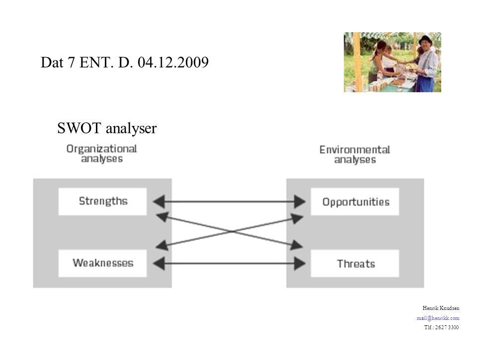 SWOT analyser Dat 7 ENT. D. 04.12.2009 Henrik Knudsen mail@henrikk.com Tlf.: 2627 3300