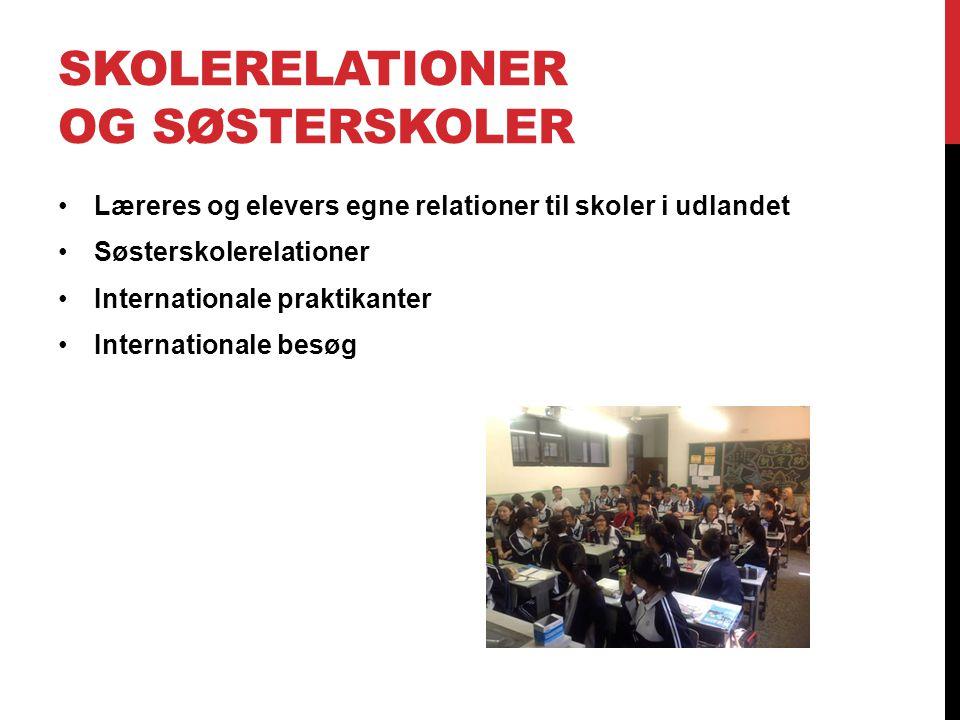 SKOLERELATIONER OG SØSTERSKOLER Læreres og elevers egne relationer til skoler i udlandet Søsterskolerelationer Internationale praktikanter Internationale besøg