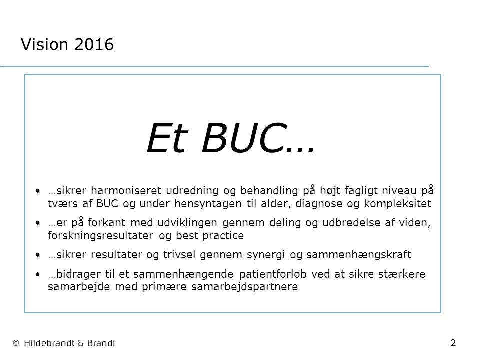 2 Vision 2016 Et BUC… …sikrer harmoniseret udredning og behandling på højt fagligt niveau på tværs af BUC og under hensyntagen til alder, diagnose og kompleksitet …er på forkant med udviklingen gennem deling og udbredelse af viden, forskningsresultater og best practice …sikrer resultater og trivsel gennem synergi og sammenhængskraft …bidrager til et sammenhængende patientforløb ved at sikre stærkere samarbejde med primære samarbejdspartnere