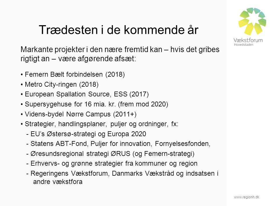 www.regionh.dk Trædesten i de kommende år Markante projekter i den nære fremtid kan – hvis det gribes rigtigt an – være afgørende afsæt: Femern Bælt forbindelsen (2018) Metro City-ringen (2018) European Spallation Source, ESS (2017) Supersygehuse for 16 mia.