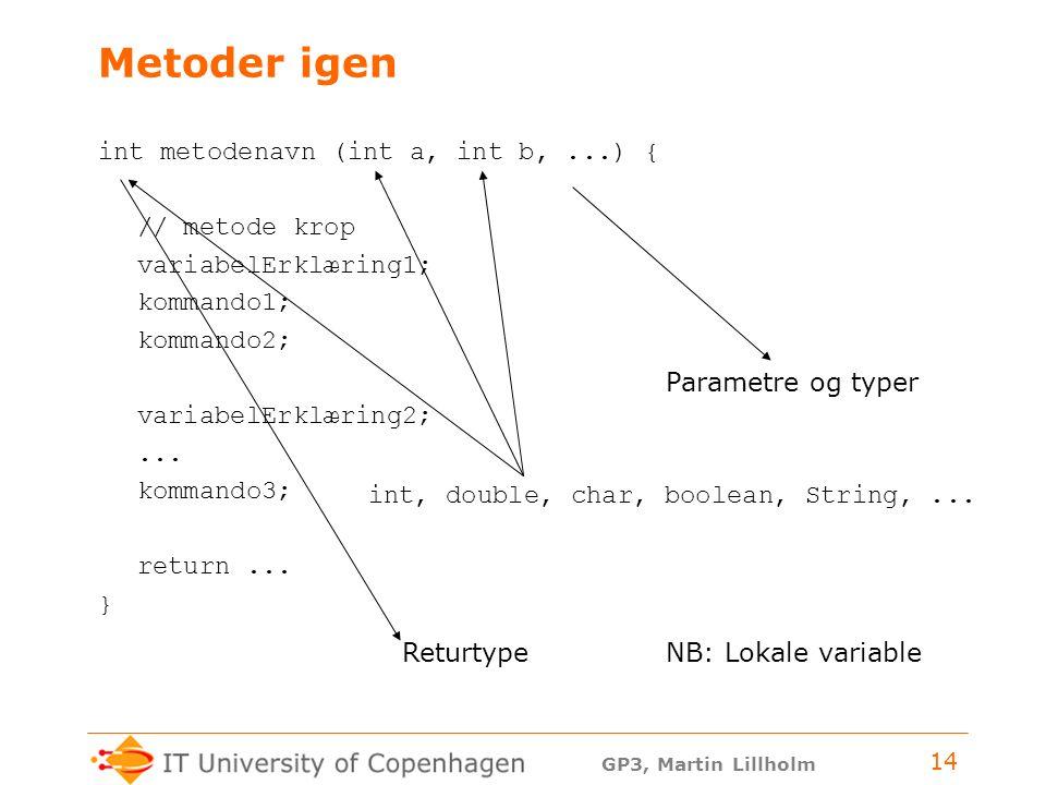 GP3, Martin Lillholm 14 Metoder igen int metodenavn (int a, int b,...) { // metode krop variabelErklæring1; kommando1; kommando2; variabelErklæring2;...