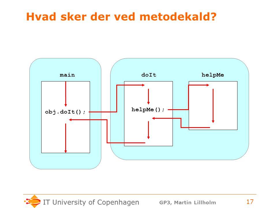 GP3, Martin Lillholm 17 Hvad sker der ved metodekald doIt helpMe helpMe(); obj.doIt(); main