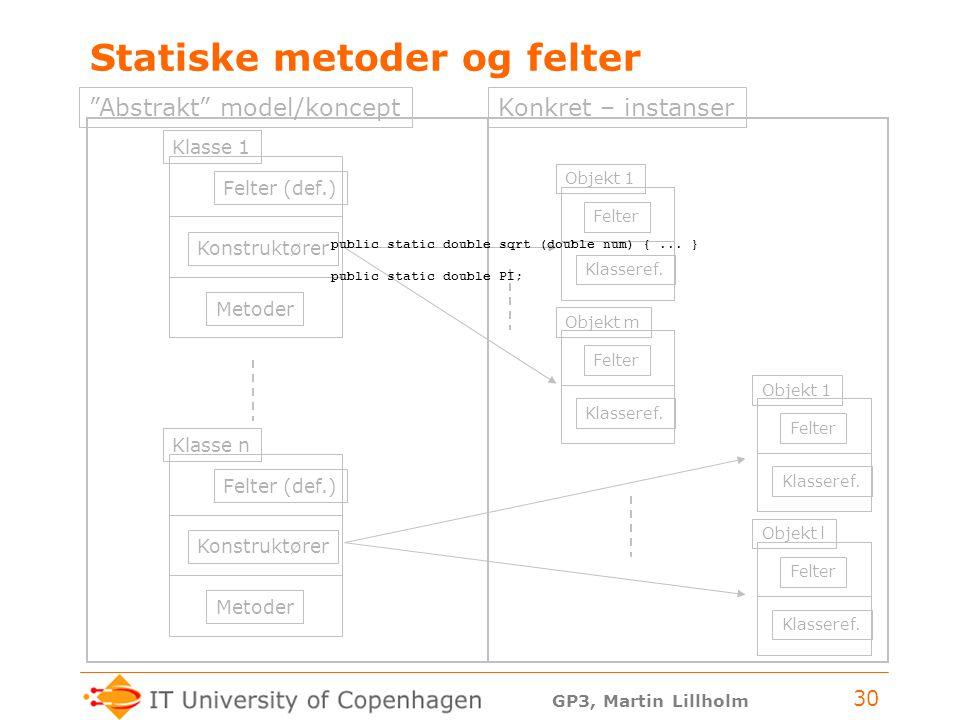 GP3, Martin Lillholm 30 Statiske metoder og felter Felter (def.) Konstruktører Metoder Klasse 1 Felter (def.) Konstruktører Metoder Klasse n Felter Klasseref.