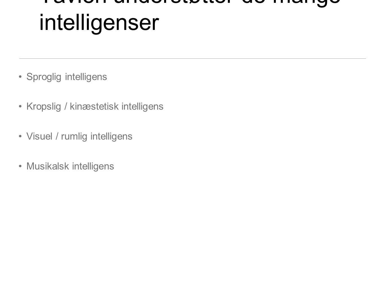 Tavlen understøtter de mange intelligenser Sproglig intelligens Kropslig / kinæstetisk intelligens Visuel / rumlig intelligens Musikalsk intelligens
