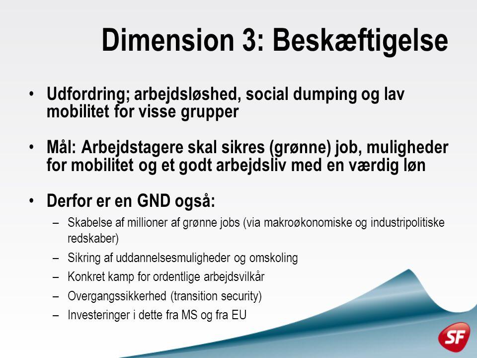 Dimension 3: Beskæftigelse Udfordring; arbejdsløshed, social dumping og lav mobilitet for visse grupper Mål: Arbejdstagere skal sikres (grønne) job, muligheder for mobilitet og et godt arbejdsliv med en værdig løn Derfor er en GND også: –Skabelse af millioner af grønne jobs (via makroøkonomiske og industripolitiske redskaber) –Sikring af uddannelsesmuligheder og omskoling –Konkret kamp for ordentlige arbejdsvilkår –Overgangssikkerhed (transition security) –Investeringer i dette fra MS og fra EU