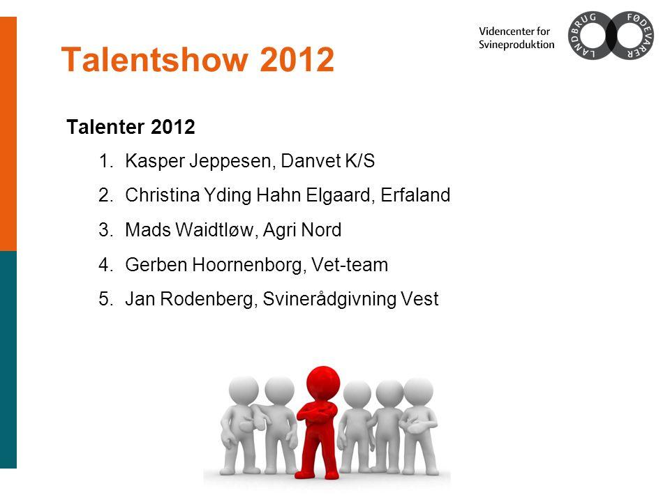 Talentshow 2012 Talenter 2012 1.Kasper Jeppesen, Danvet K/S 2.Christina Yding Hahn Elgaard, Erfaland 3.Mads Waidtløw, Agri Nord 4.Gerben Hoornenborg, Vet-team 5.Jan Rodenberg, Svinerådgivning Vest