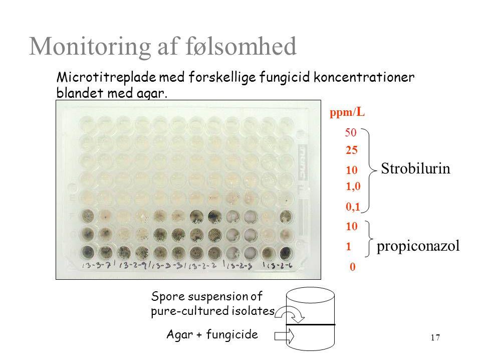 17 Monitoring af følsomhed Agar + fungicide Spore suspension of pure-cultured isolates Microtitreplade med forskellige fungicid koncentrationer blandet med agar.