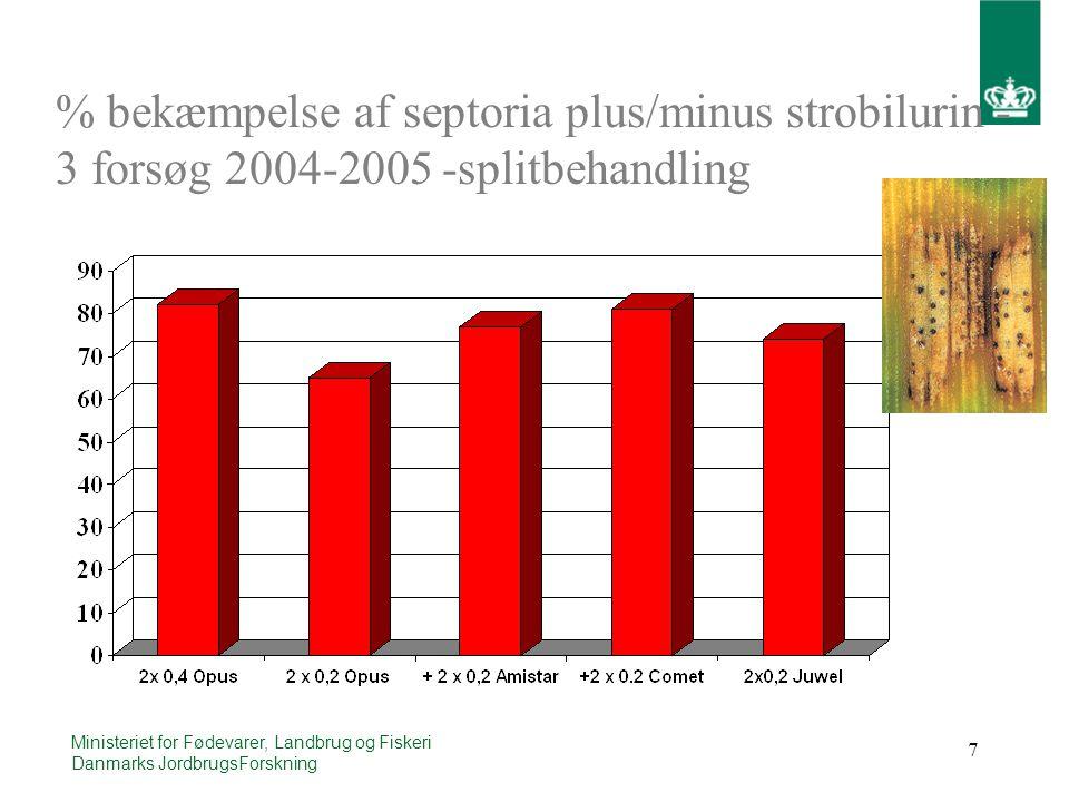 7 Ministeriet for Fødevarer, Landbrug og Fiskeri Danmarks JordbrugsForskning % bekæmpelse af septoria plus/minus strobilurin - 3 forsøg 2004-2005 -splitbehandling