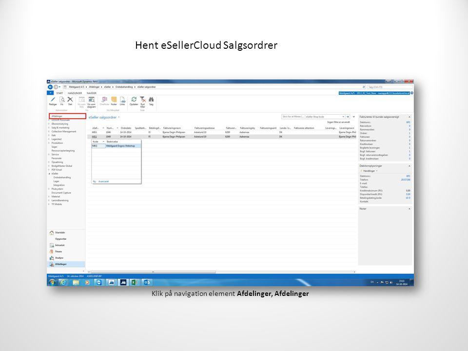 Hent eSellerCloud Salgsordrer Klik på navigation element Afdelinger, Afdelinger