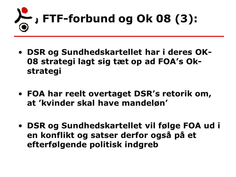 FTF-forbund og Ok 08 (3): DSR og Sundhedskartellet har i deres OK- 08 strategi lagt sig tæt op ad FOA's Ok- strategi FOA har reelt overtaget DSR's retorik om, at 'kvinder skal have mandeløn' DSR og Sundhedskartellet vil følge FOA ud i en konflikt og satser derfor også på et efterfølgende politisk indgreb