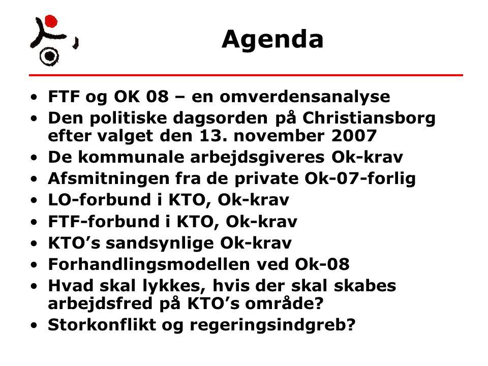 Agenda FTF og OK 08 – en omverdensanalyse Den politiske dagsorden på Christiansborg efter valget den 13.