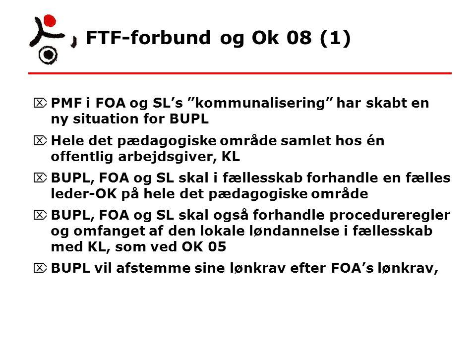 FTF-forbund og Ok 08 (1)  PMF i FOA og SL's kommunalisering har skabt en ny situation for BUPL  Hele det pædagogiske område samlet hos én offentlig arbejdsgiver, KL  BUPL, FOA og SL skal i fællesskab forhandle en fælles leder-OK på hele det pædagogiske område  BUPL, FOA og SL skal også forhandle procedureregler og omfanget af den lokale løndannelse i fællesskab med KL, som ved OK 05  BUPL vil afstemme sine lønkrav efter FOA's lønkrav,