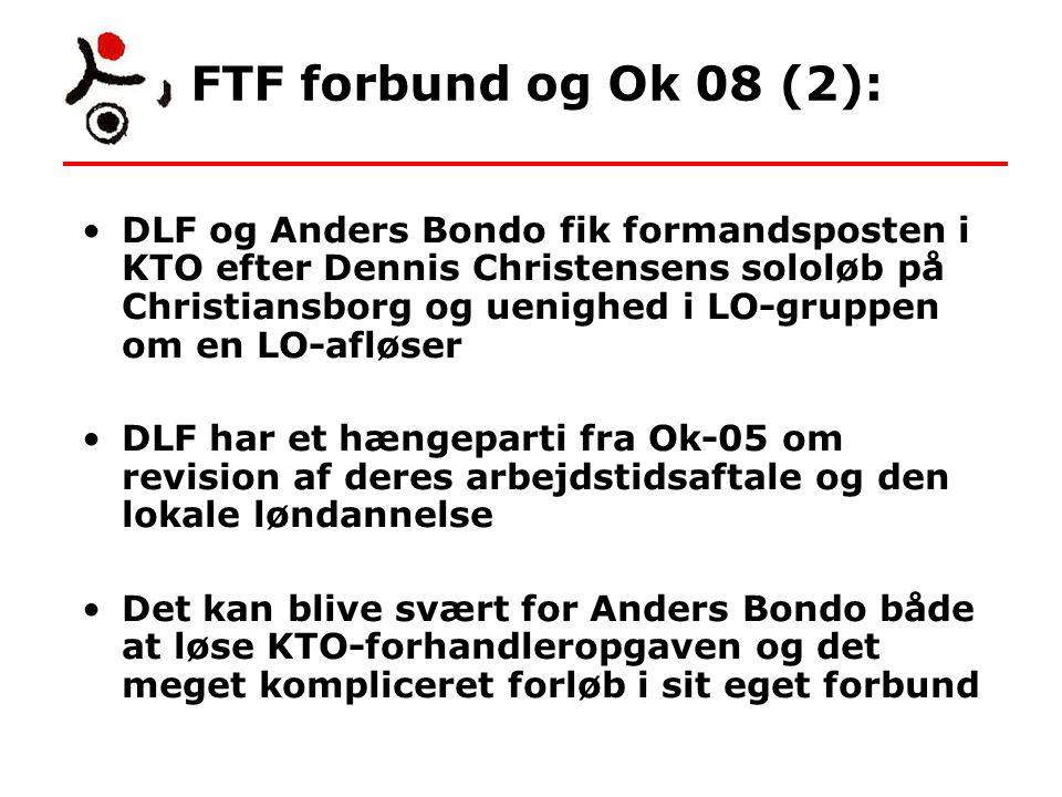 FTF forbund og Ok 08 (2): DLF og Anders Bondo fik formandsposten i KTO efter Dennis Christensens sololøb på Christiansborg og uenighed i LO-gruppen om en LO-afløser DLF har et hængeparti fra Ok-05 om revision af deres arbejdstidsaftale og den lokale løndannelse Det kan blive svært for Anders Bondo både at løse KTO-forhandleropgaven og det meget kompliceret forløb i sit eget forbund