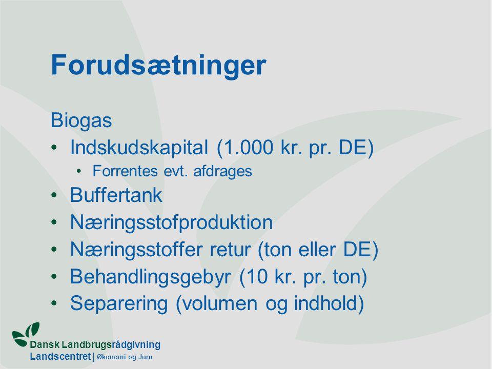 Dansk Landbrugsrådgivning Landscentret | Økonomi og Jura Forudsætninger Biogas Indskudskapital (1.000 kr.