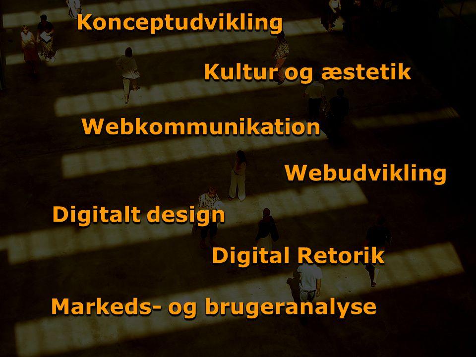 KonceptudviklingKonceptudvikling WebudviklingWebudvikling WebkommunikationWebkommunikation Digital Retorik Markeds- og brugeranalyse Digitalt design Kultur og æstetik