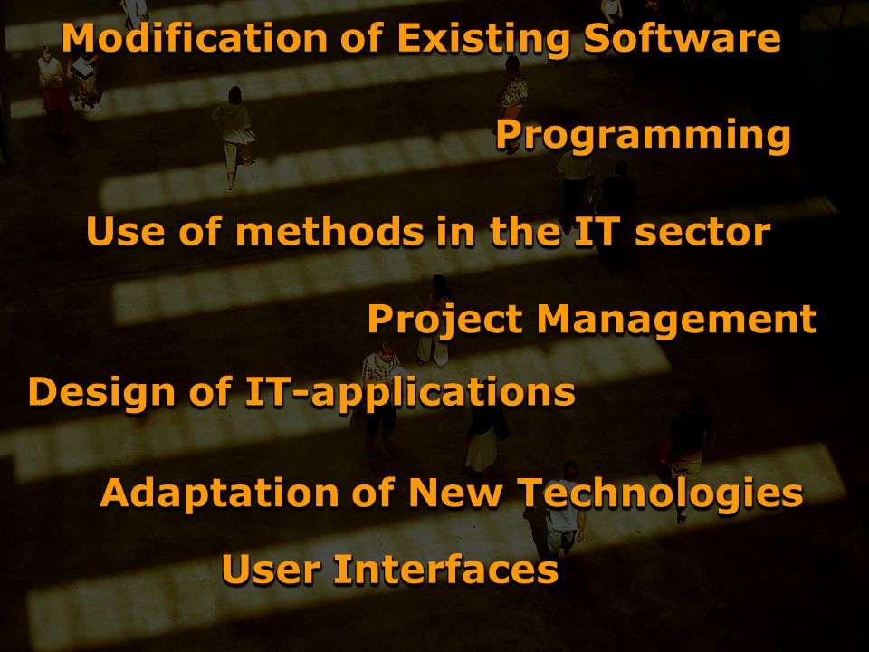 Modification of Existing Software Project Management Use of methods in the IT sector Adaptation of New Technologies User Interfaces Design of IT-applications ProgrammingProgramming