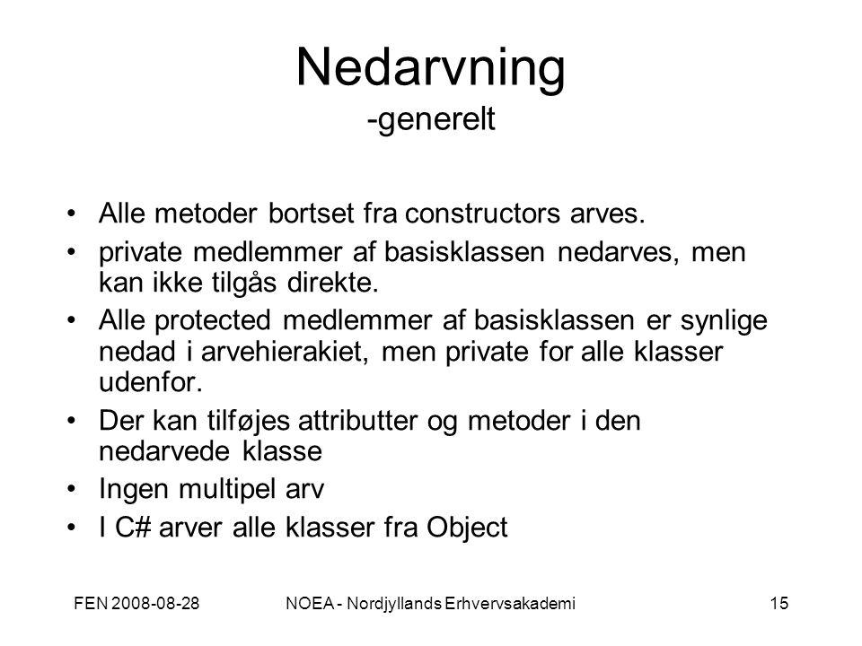 FEN 2008-08-28NOEA - Nordjyllands Erhvervsakademi15 Nedarvning -generelt Alle metoder bortset fra constructors arves.
