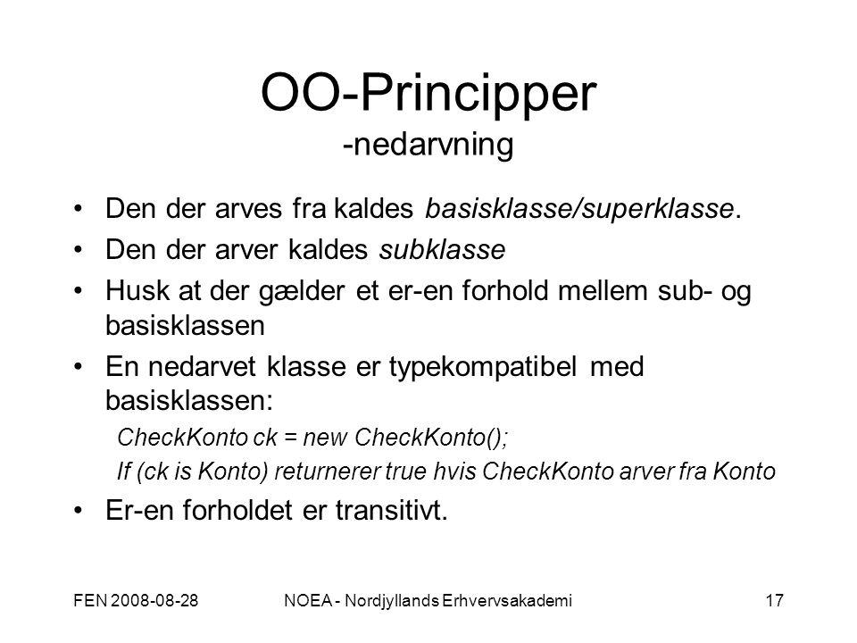 FEN 2008-08-28NOEA - Nordjyllands Erhvervsakademi17 OO-Principper -nedarvning Den der arves fra kaldes basisklasse/superklasse.