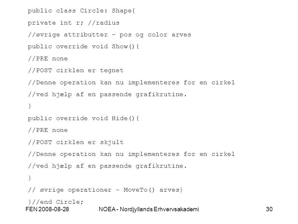 FEN 2008-08-28NOEA - Nordjyllands Erhvervsakademi30 public class Circle: Shape{ private int r; //radius //øvrige attributter - pos og color arves public override void Show(){ //PRE none //POST cirklen er tegnet //Denne operation kan nu implementeres for en cirkel //ved hjælp af en passende grafikrutine.