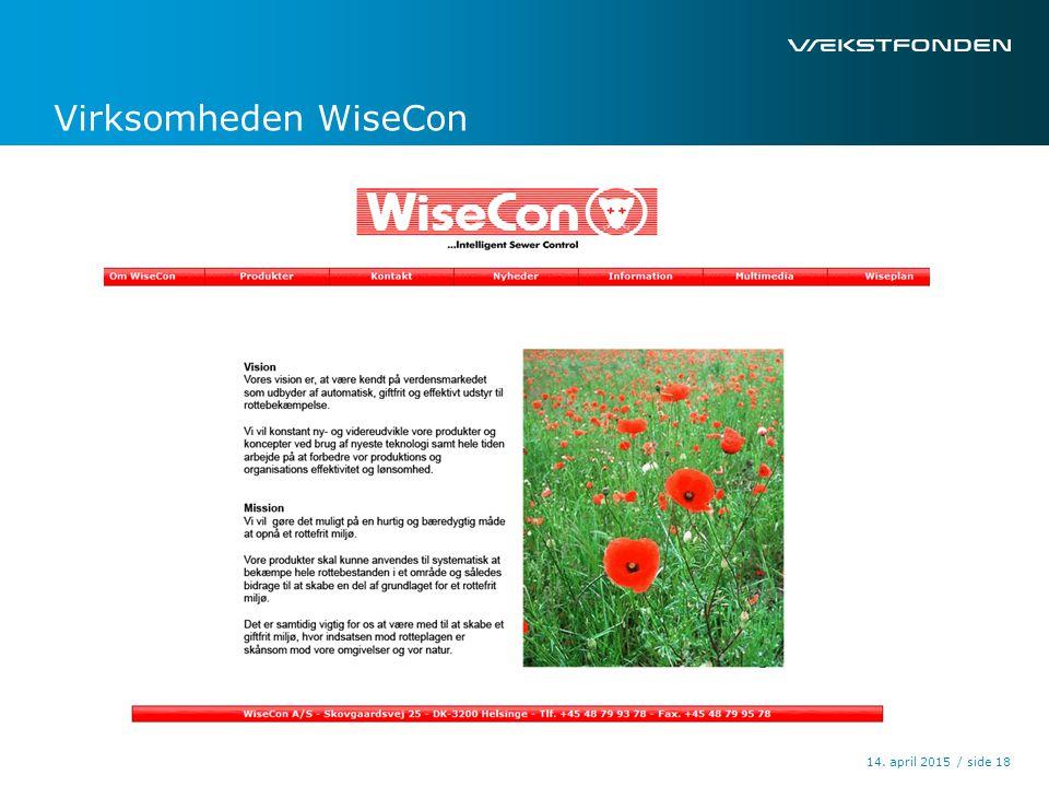 / side14. april 2015 18 Virksomheden WiseCon
