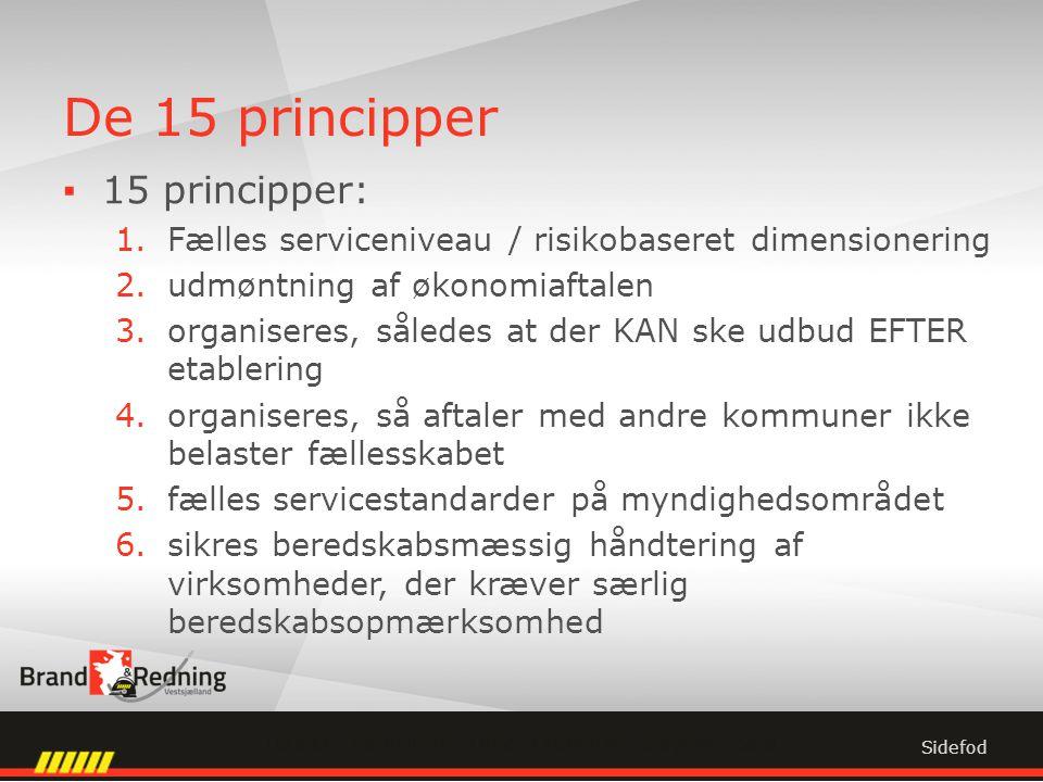 De 15 principper ▪15 principper: 1.Fælles serviceniveau / risikobaseret dimensionering 2.udmøntning af økonomiaftalen 3.organiseres, således at der KAN ske udbud EFTER etablering 4.organiseres, så aftaler med andre kommuner ikke belaster fællesskabet 5.fælles servicestandarder på myndighedsområdet 6.sikres beredskabsmæssig håndtering af virksomheder, der kræver særlig beredskabsopmærksomhed Sidefod