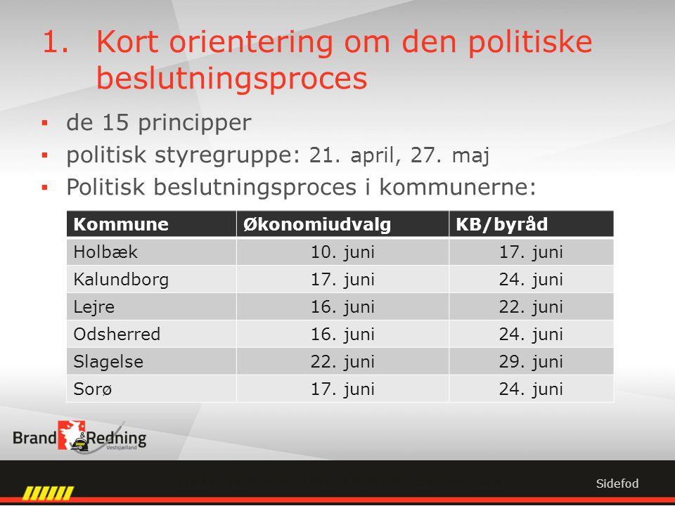 1.Kort orientering om den politiske beslutningsproces ▪de 15 principper ▪politisk styregruppe: 21.