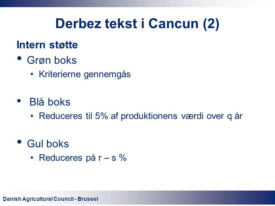 Danish Agricultural Council - Brussel Derbez tekst i Cancun (2) Intern støtte Grøn boks Kriterierne gennemgås Blå boks Reduceres til 5% af produktionens værdi over q år Gul boks Reduceres på r – s %