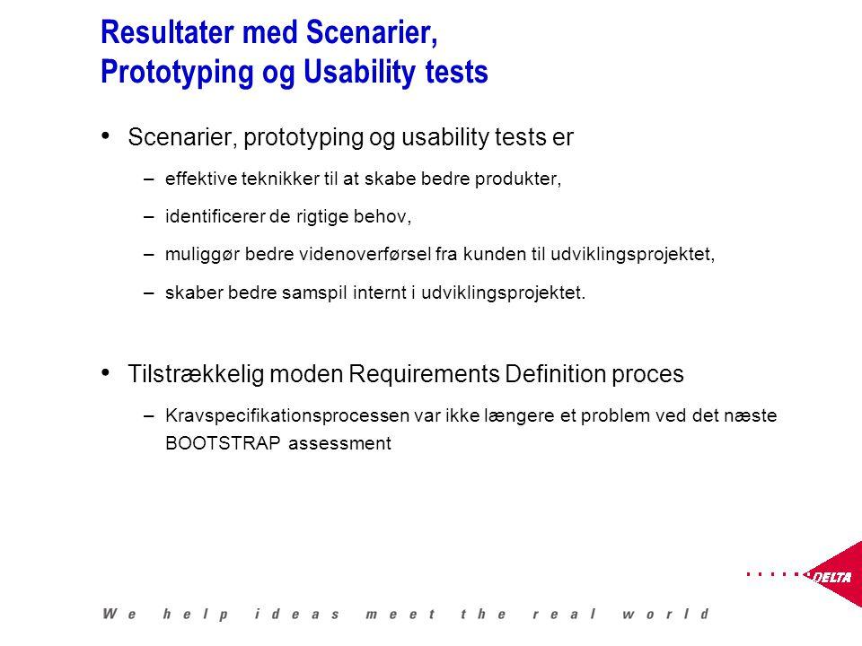Resultater med Scenarier, Prototyping og Usability tests Scenarier, prototyping og usability tests er –effektive teknikker til at skabe bedre produkter, –identificerer de rigtige behov, –muliggør bedre videnoverførsel fra kunden til udviklingsprojektet, –skaber bedre samspil internt i udviklingsprojektet.