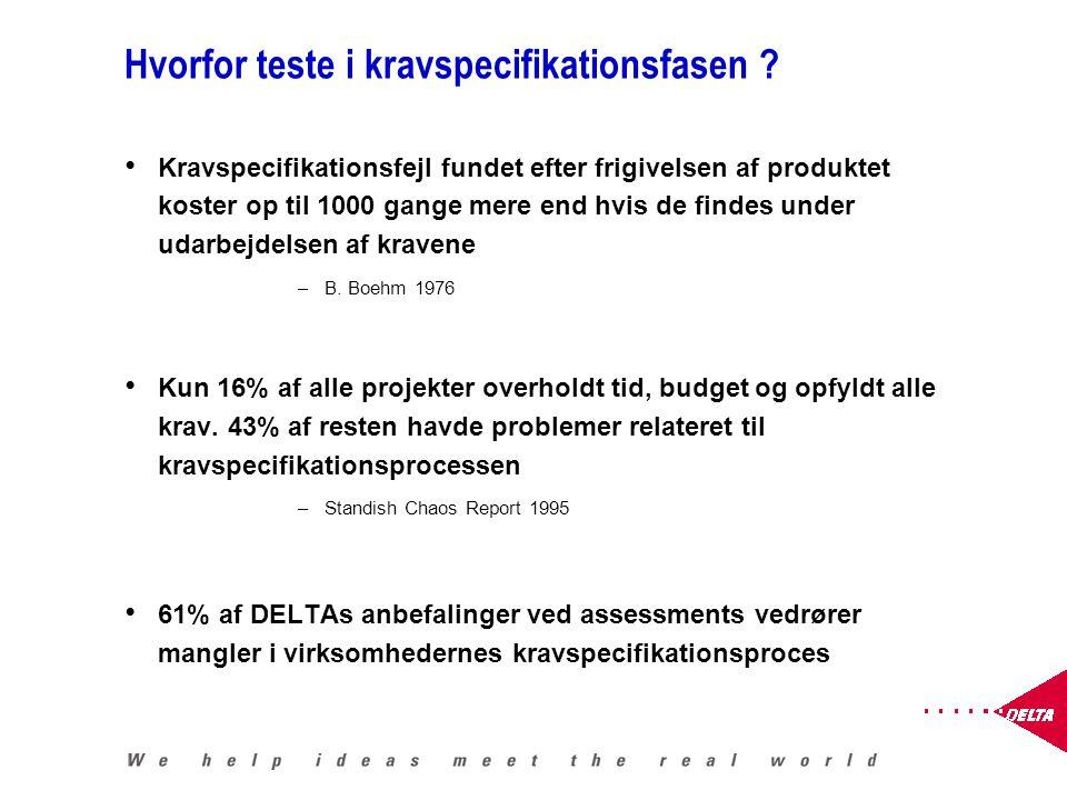 Hvorfor teste i kravspecifikationsfasen .