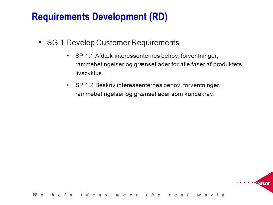 Requirements Development (RD) SG 1 Develop Customer Requirements SP 1.1 Afdæk interessenternes behov, forventninger, rammebetingelser og grænseflader for alle faser af produktets livscyklus.