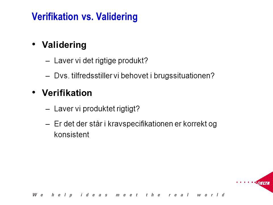 Verifikation vs. Validering Validering –Laver vi det rigtige produkt.