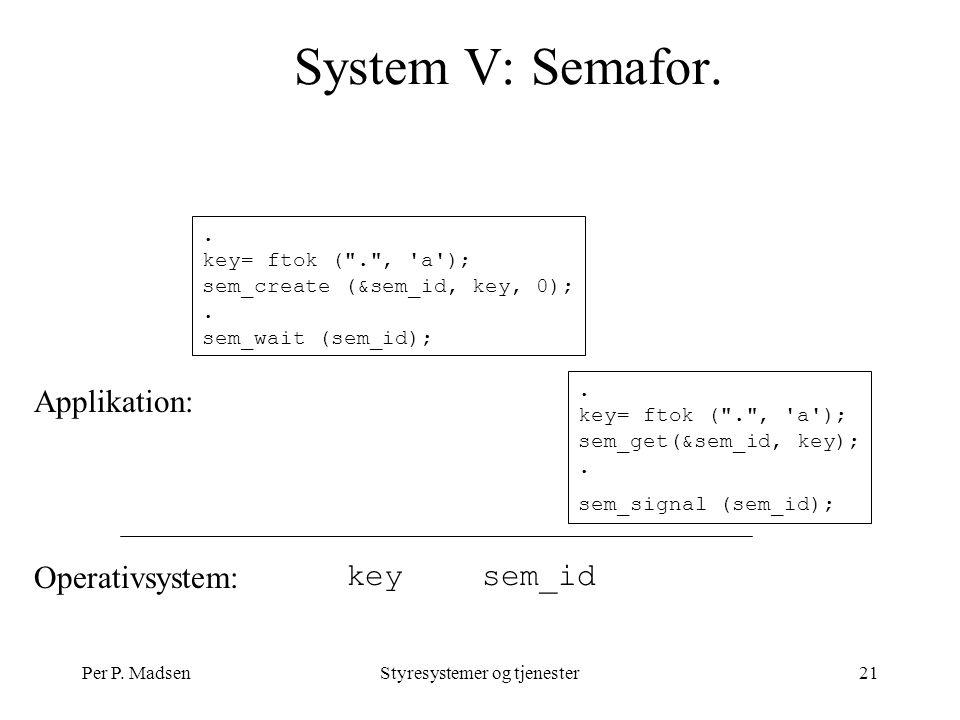 Per P. MadsenStyresystemer og tjenester21 System V: Semafor.
