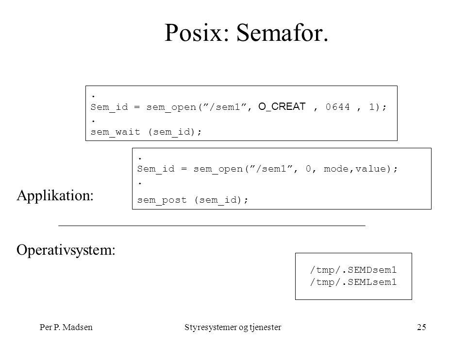 Per P. MadsenStyresystemer og tjenester25 Posix: Semafor.