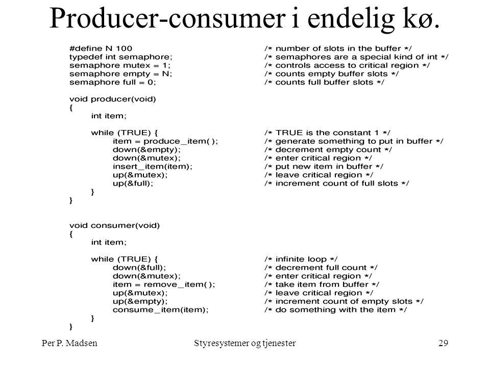 Per P. MadsenStyresystemer og tjenester29 Producer-consumer i endelig kø.
