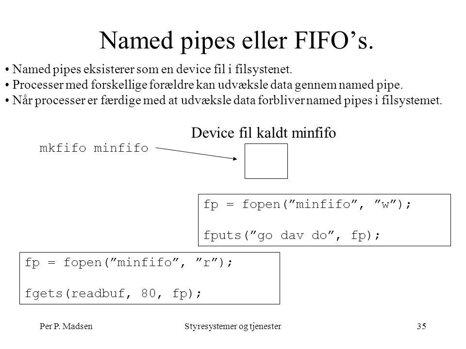 Per P. MadsenStyresystemer og tjenester35 Named pipes eller FIFO's.