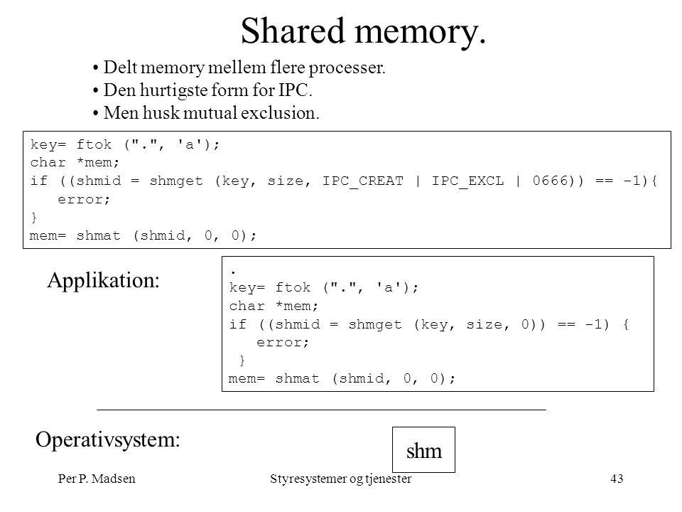 Per P. MadsenStyresystemer og tjenester43 Shared memory.